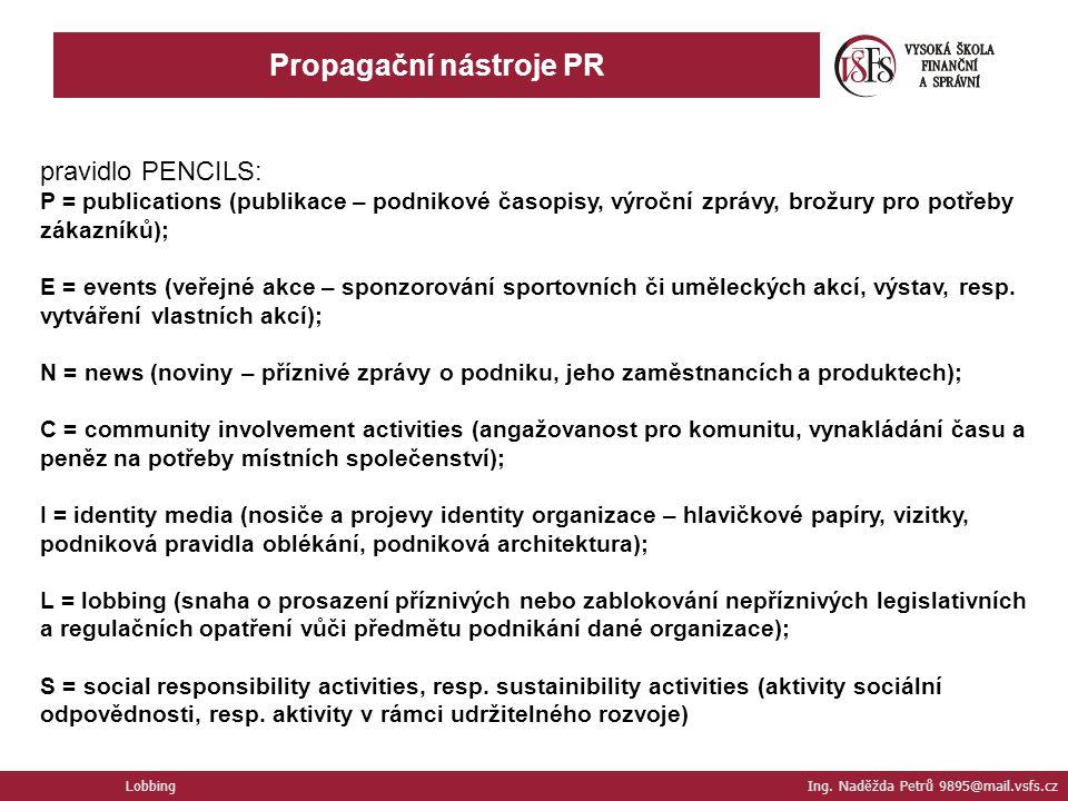 Propagační nástroje PR