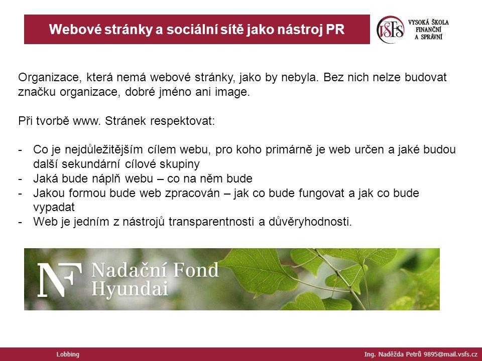 Webové stránky a sociální sítě jako nástroj PR