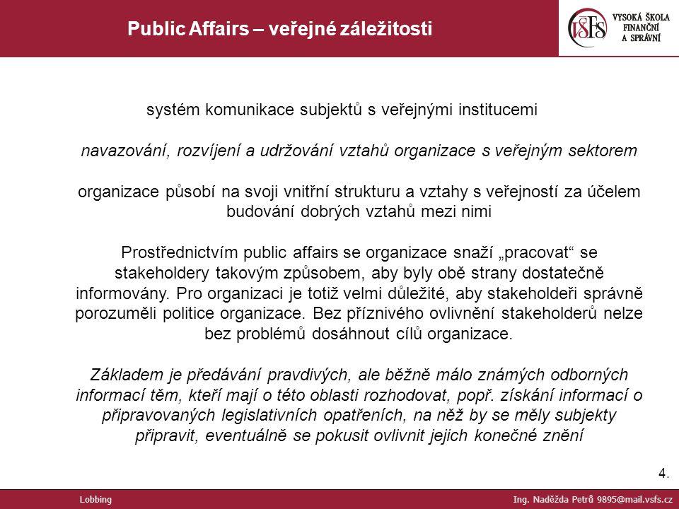 Public Affairs – veřejné záležitosti