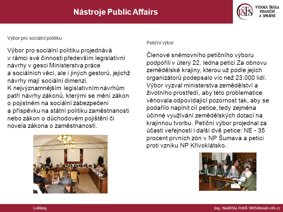 Nástroje Public Affairs