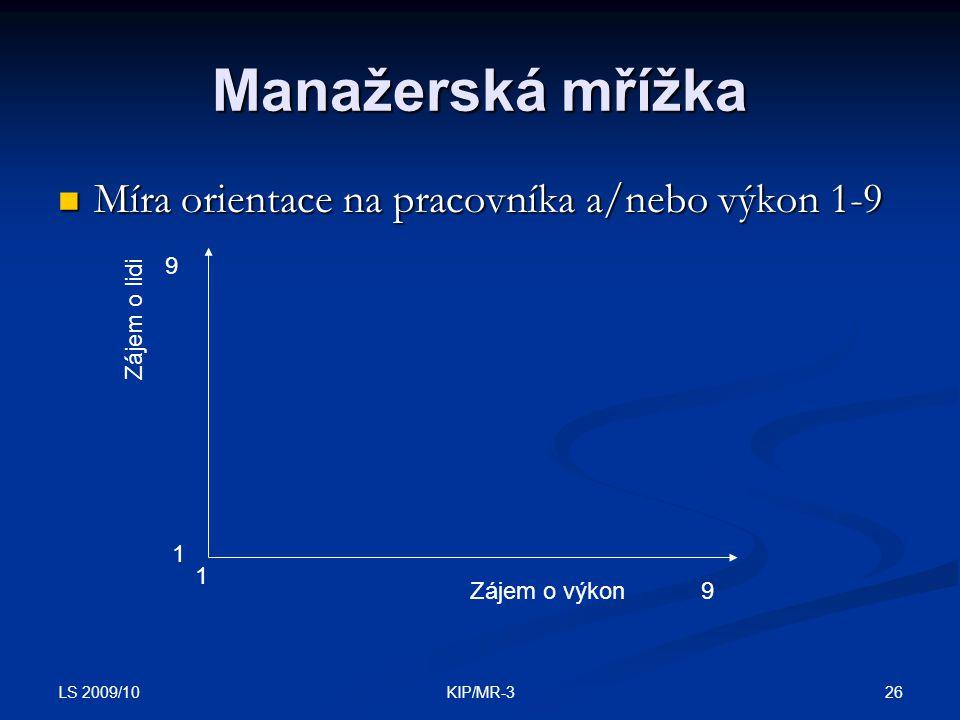 Manažerská mřížka Míra orientace na pracovníka a/nebo výkon 1-9 9