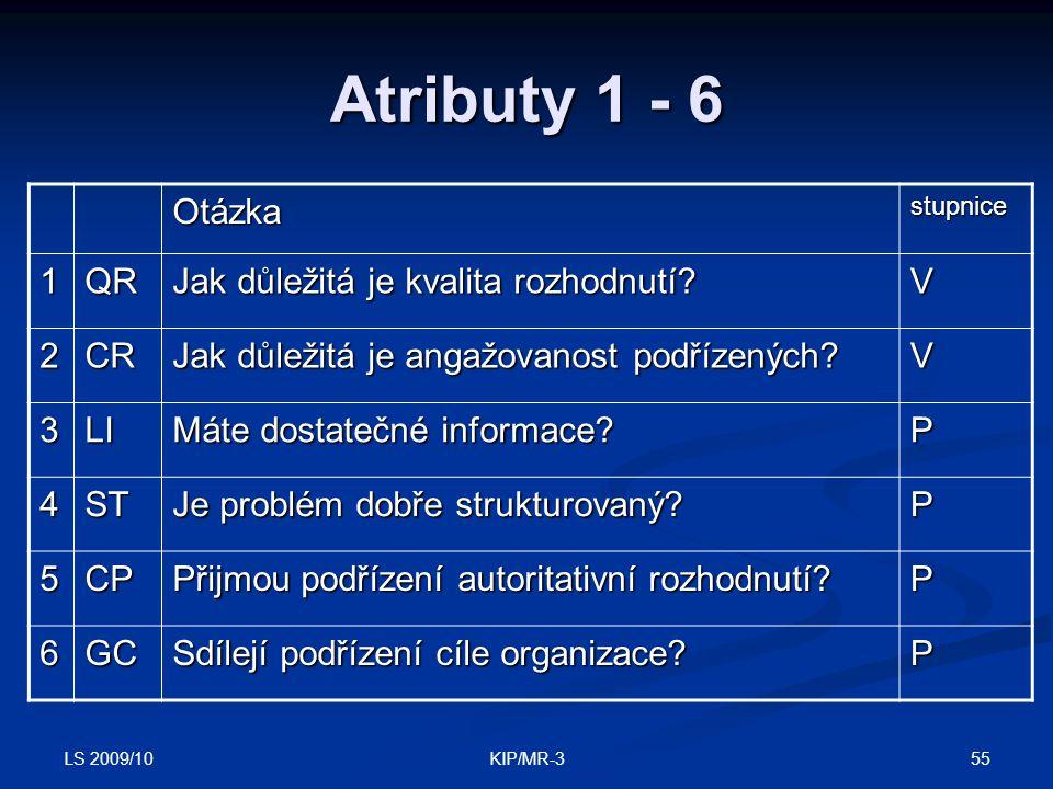 Atributy 1 - 6 Otázka 1 QR Jak důležitá je kvalita rozhodnutí V 2 CR