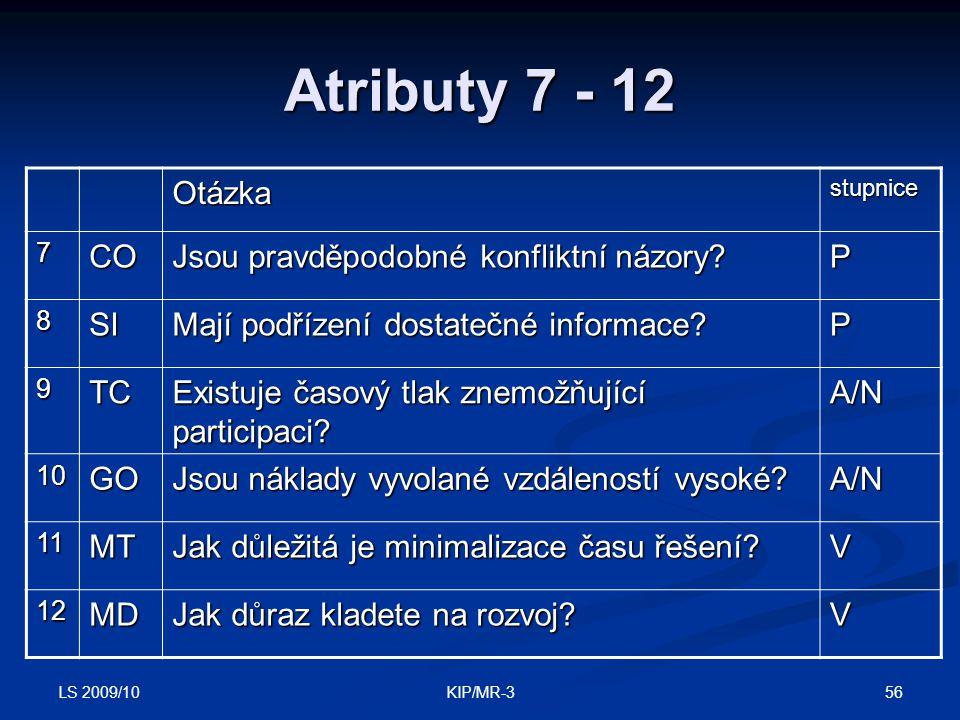 Atributy 7 - 12 Otázka CO Jsou pravděpodobné konfliktní názory P SI