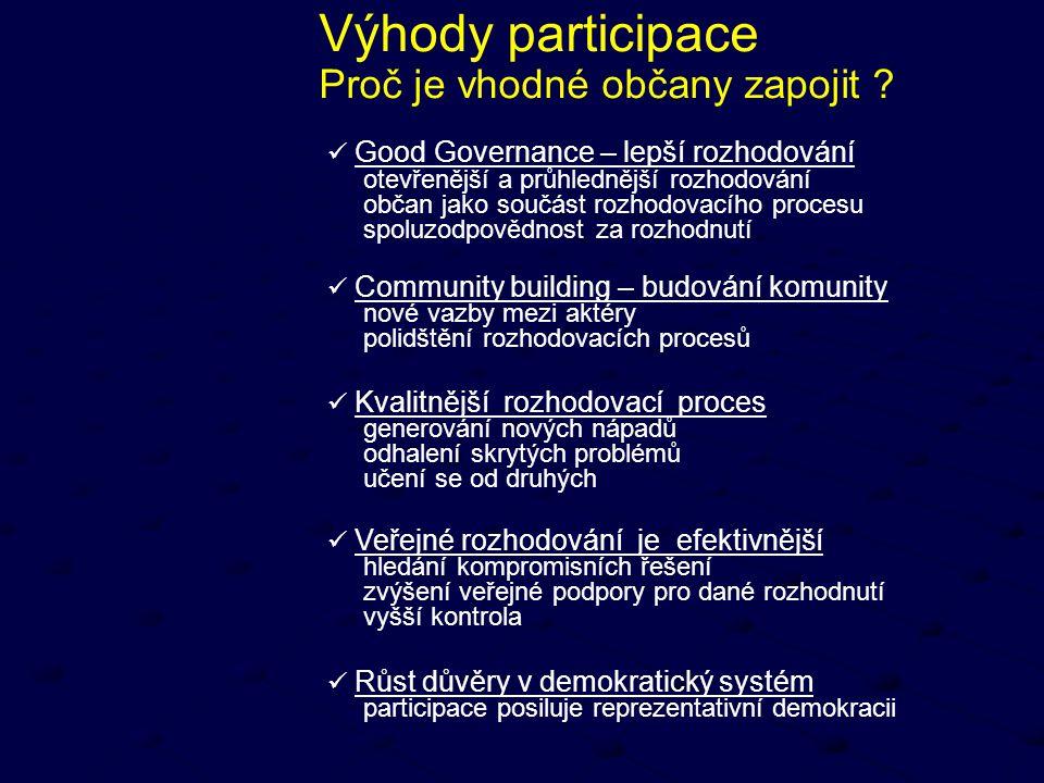 Výhody participace Proč je vhodné občany zapojit