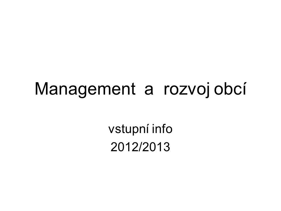 Management a rozvoj obcí