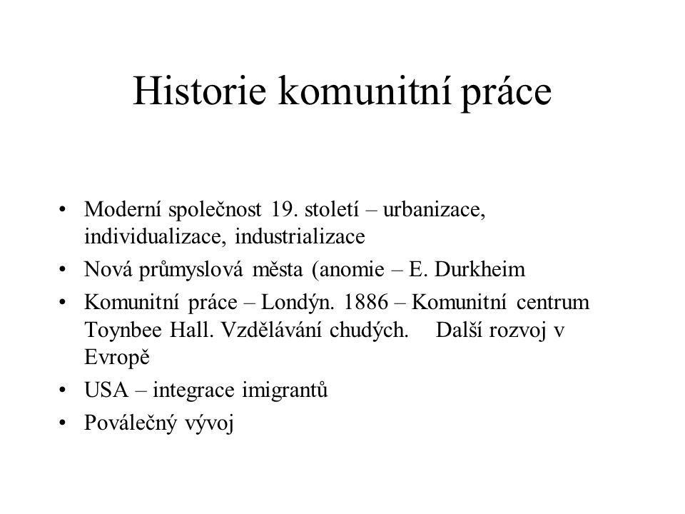 Historie komunitní práce