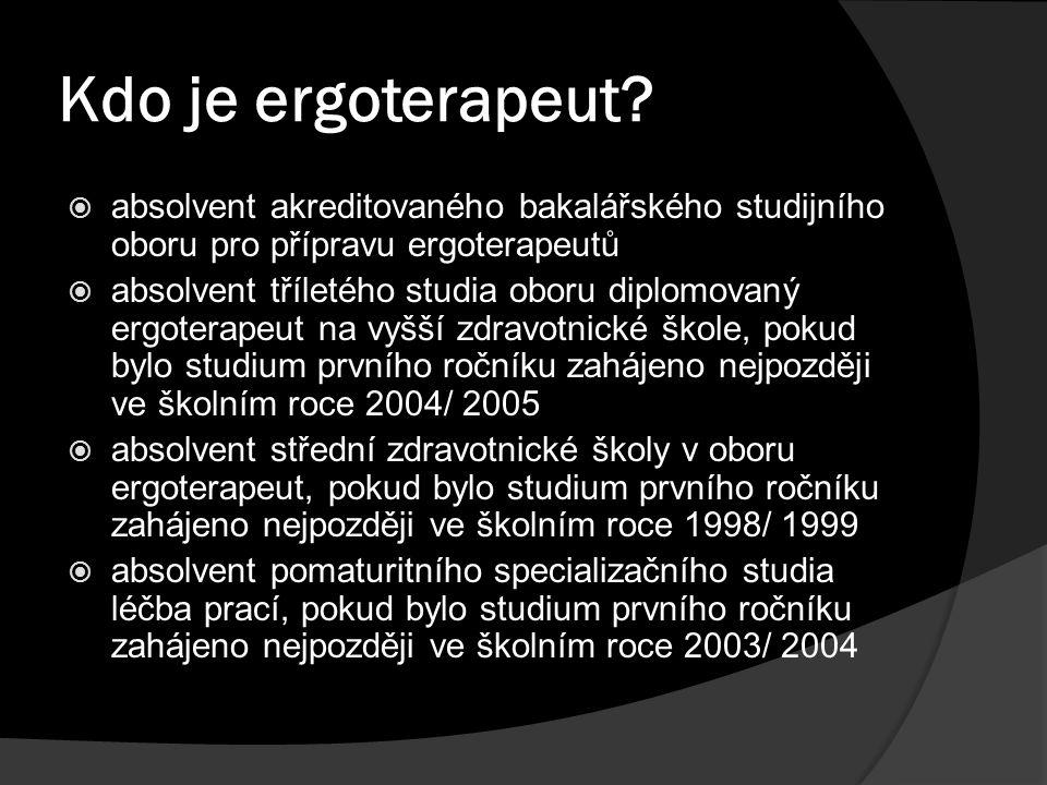 Kdo je ergoterapeut absolvent akreditovaného bakalářského studijního oboru pro přípravu ergoterapeutů.