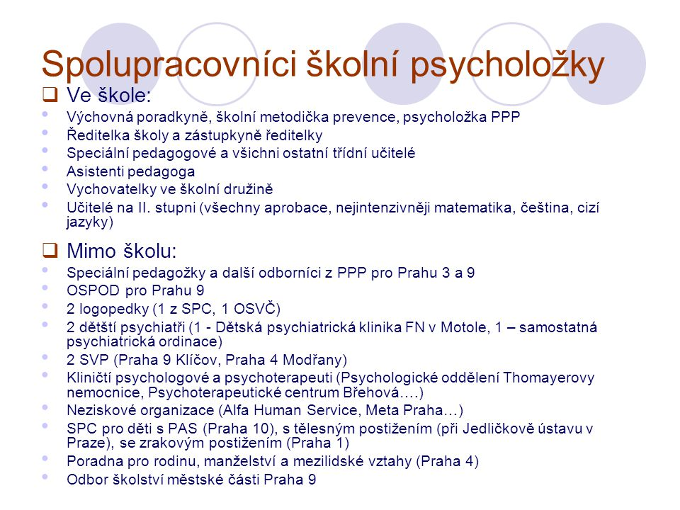 Spolupracovníci školní psycholožky