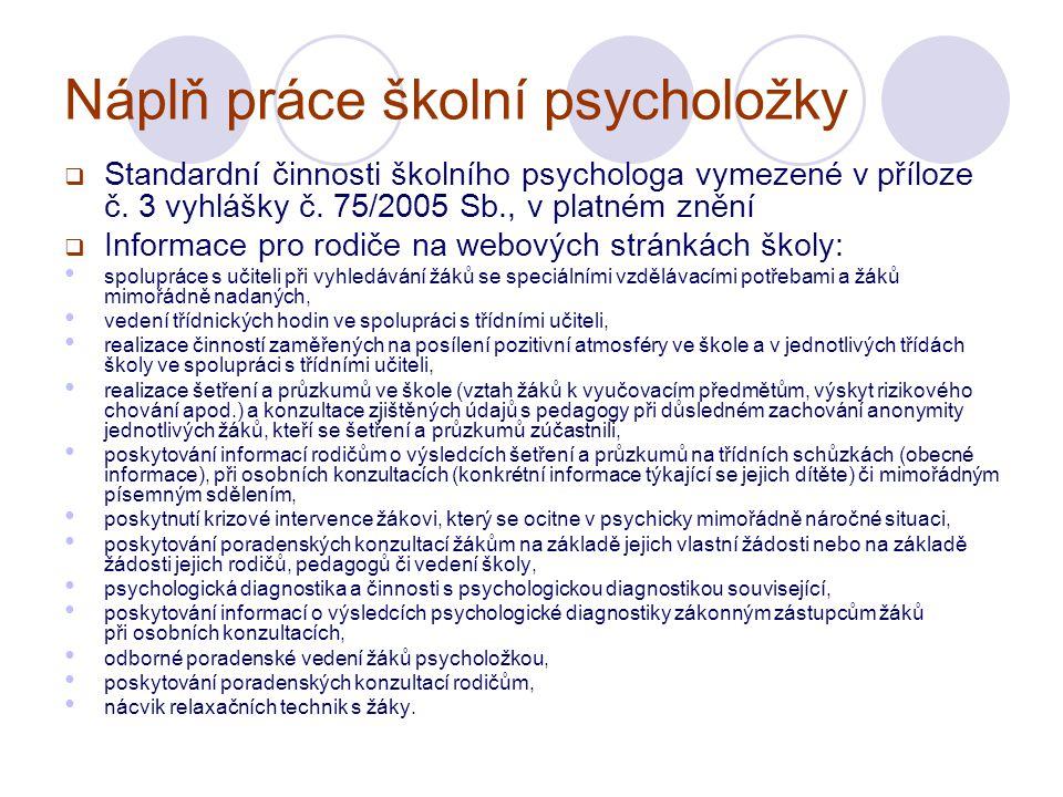 Náplň práce školní psycholožky