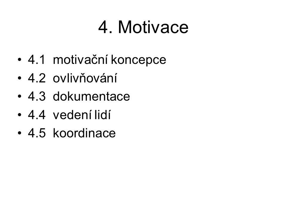 4. Motivace 4.1 motivační koncepce 4.2 ovlivňování 4.3 dokumentace