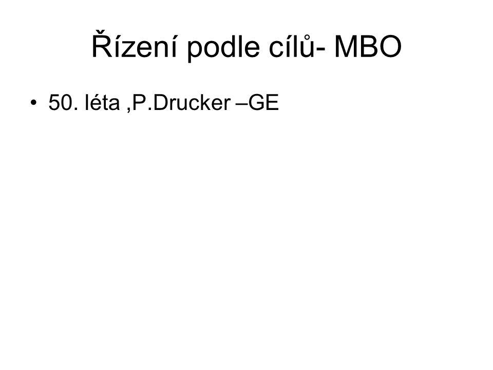 Řízení podle cílů- MBO 50. léta ,P.Drucker –GE
