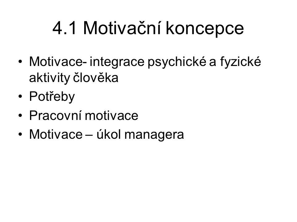 4.1 Motivační koncepce Motivace- integrace psychické a fyzické aktivity člověka. Potřeby. Pracovní motivace.