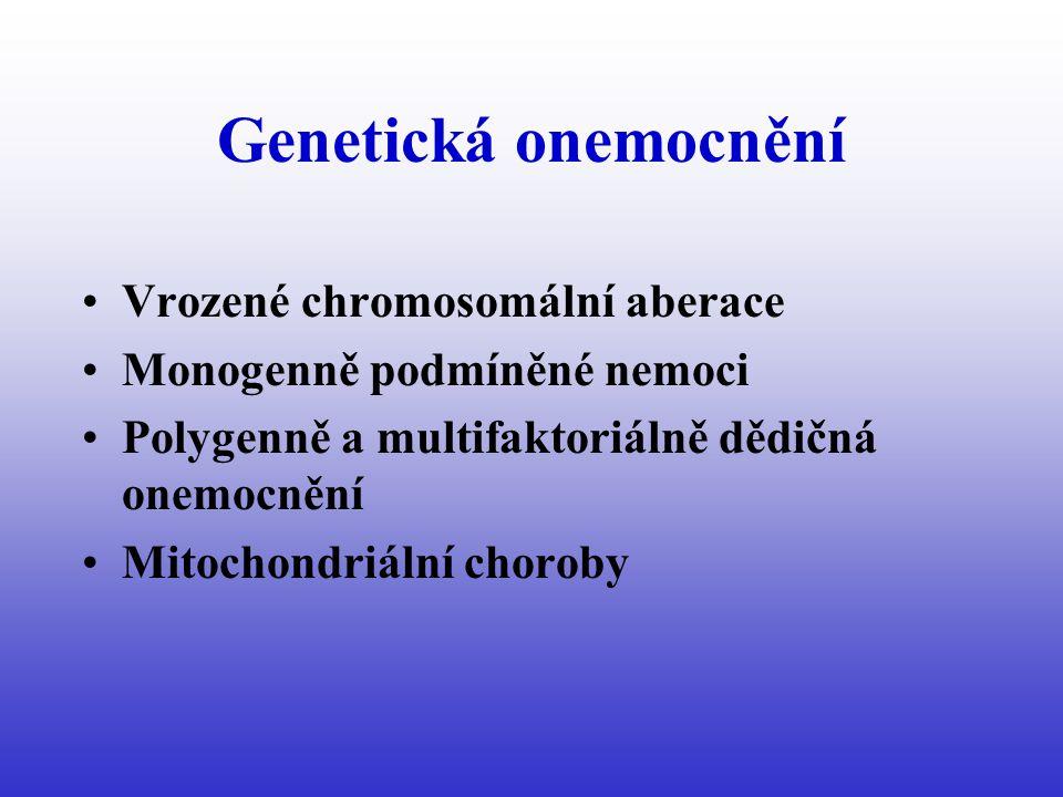 Genetická onemocnění Vrozené chromosomální aberace