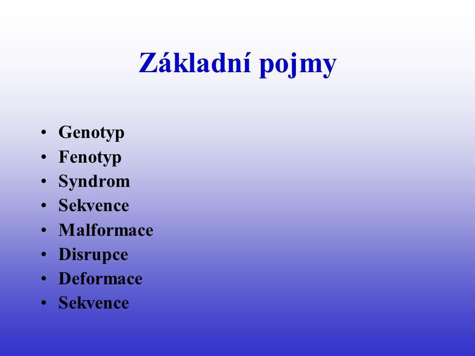 Základní pojmy Genotyp Fenotyp Syndrom Sekvence Malformace Disrupce