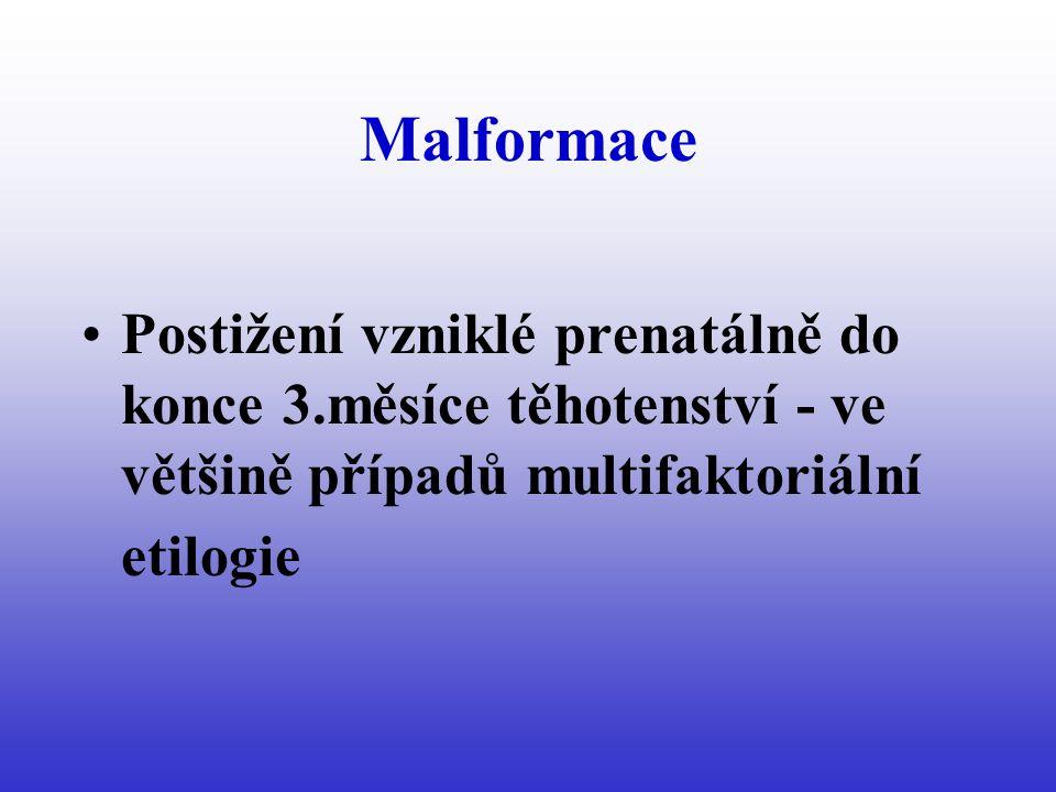 Malformace Postižení vzniklé prenatálně do konce 3.měsíce těhotenství - ve většině případů multifaktoriální etilogie.