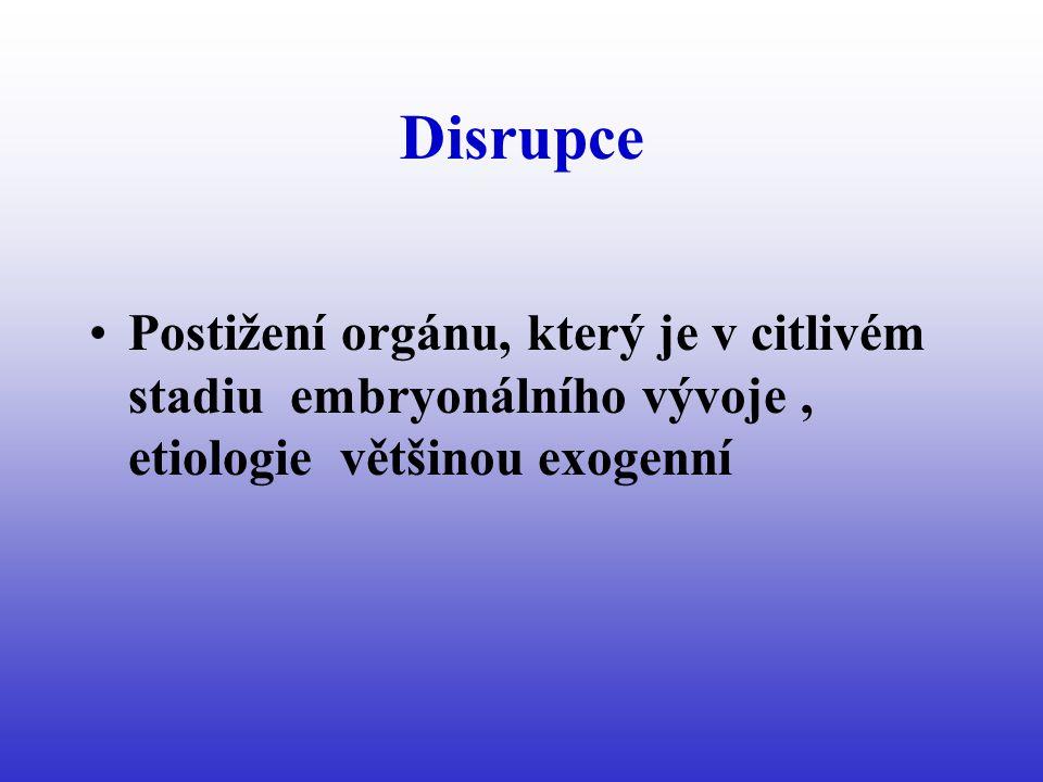 Disrupce Postižení orgánu, který je v citlivém stadiu embryonálního vývoje , etiologie většinou exogenní.