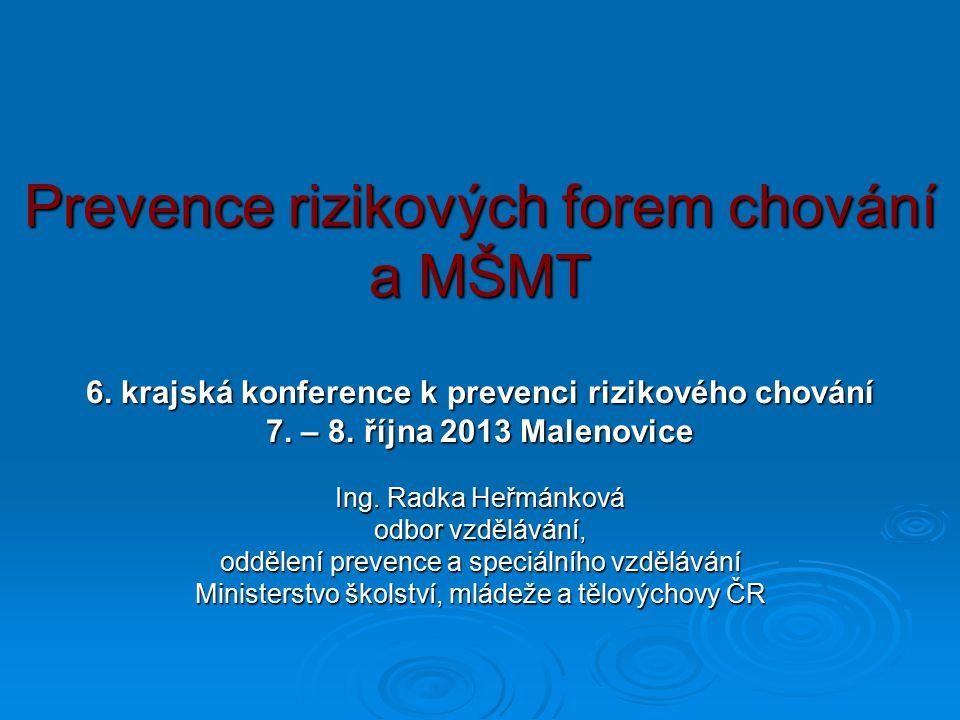 Prevence rizikových forem chování a MŠMT