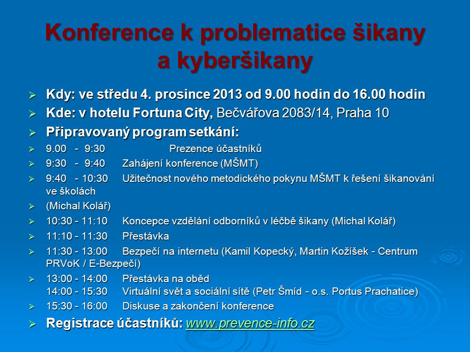 Konference k problematice šikany a kyberšikany