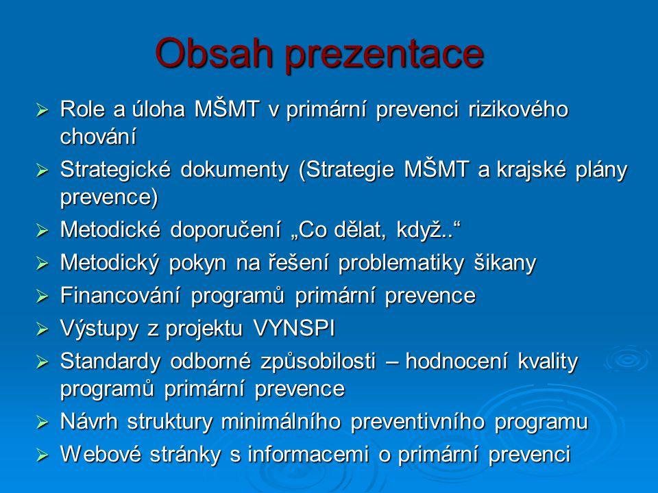 Obsah prezentace Role a úloha MŠMT v primární prevenci rizikového chování. Strategické dokumenty (Strategie MŠMT a krajské plány prevence)