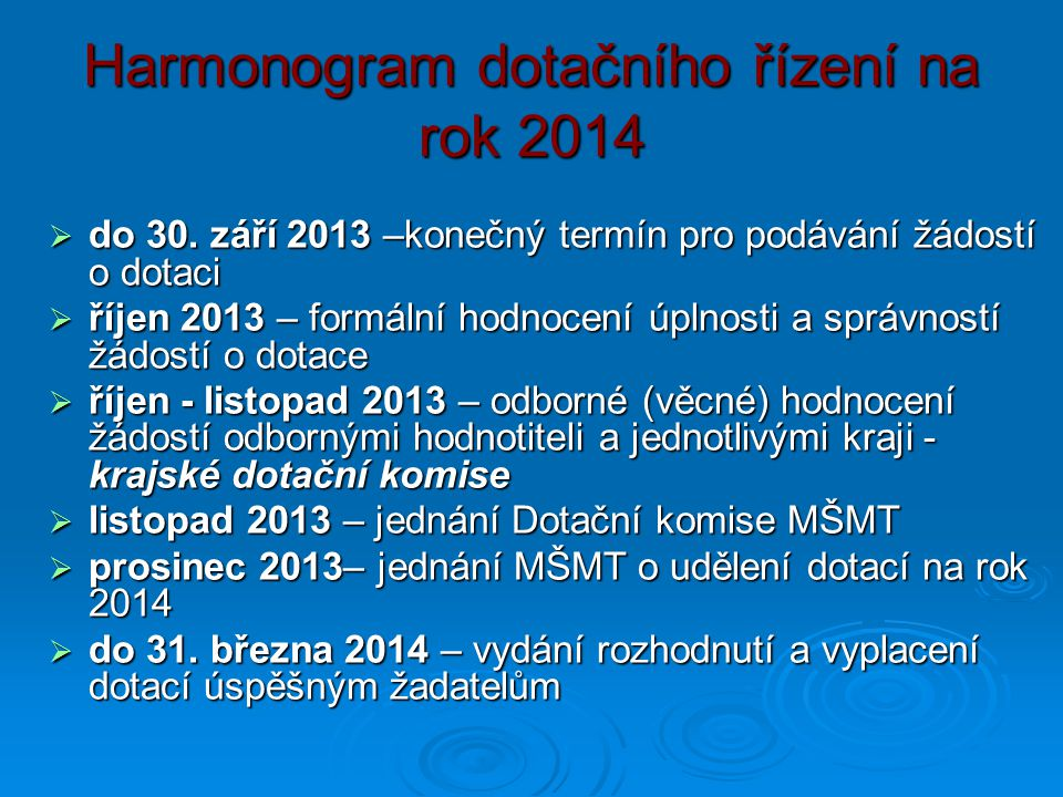 Harmonogram dotačního řízení na rok 2014