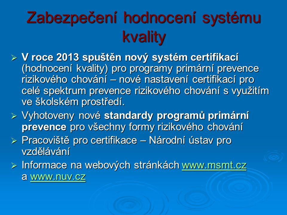 Zabezpečení hodnocení systému kvality