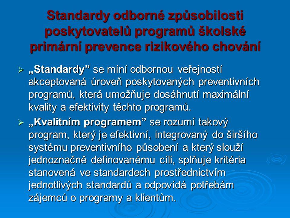 Standardy odborné způsobilosti poskytovatelů programů školské primární prevence rizikového chování