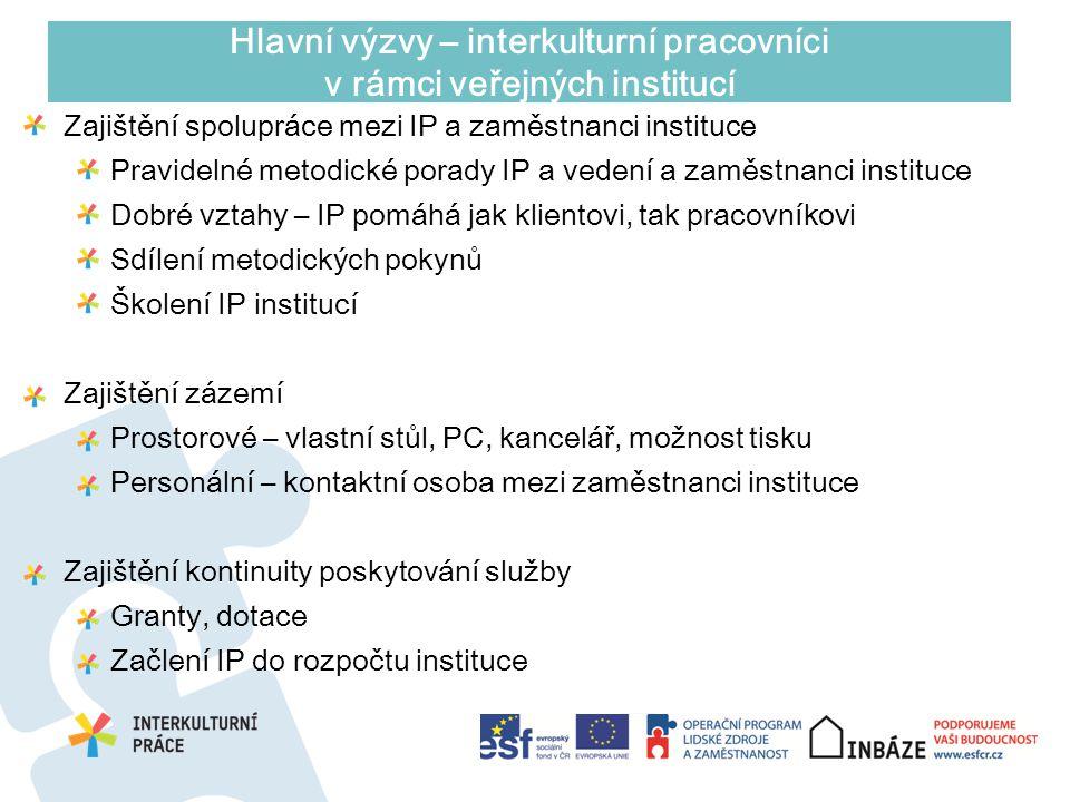Hlavní výzvy – interkulturní pracovníci v rámci veřejných institucí