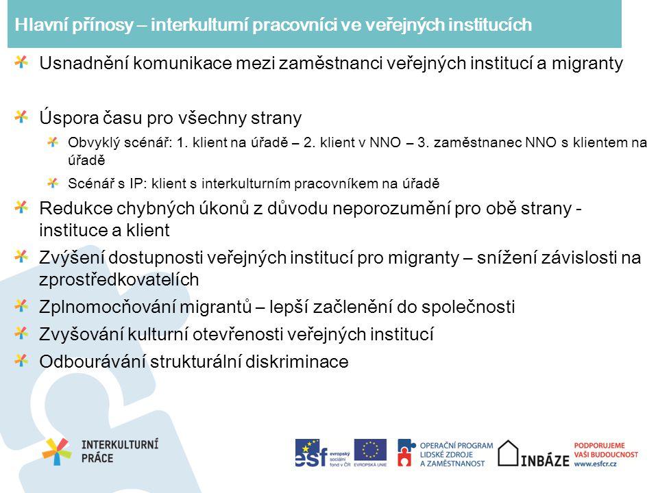 Hlavní přínosy – interkulturní pracovníci ve veřejných institucích