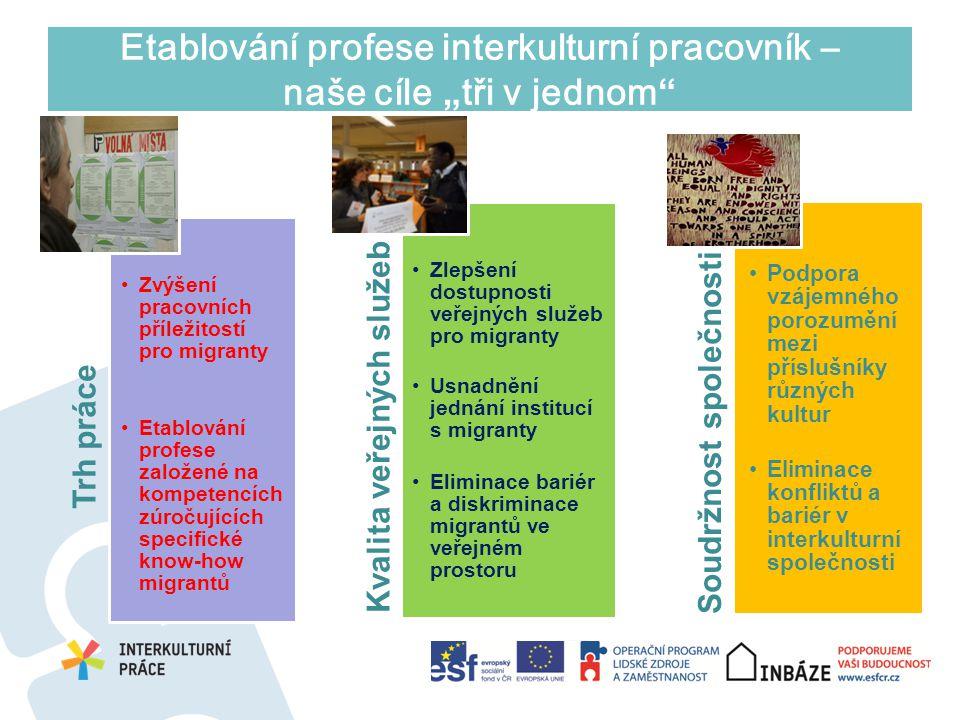 """Etablování profese interkulturní pracovník – naše cíle """"tři v jednom"""