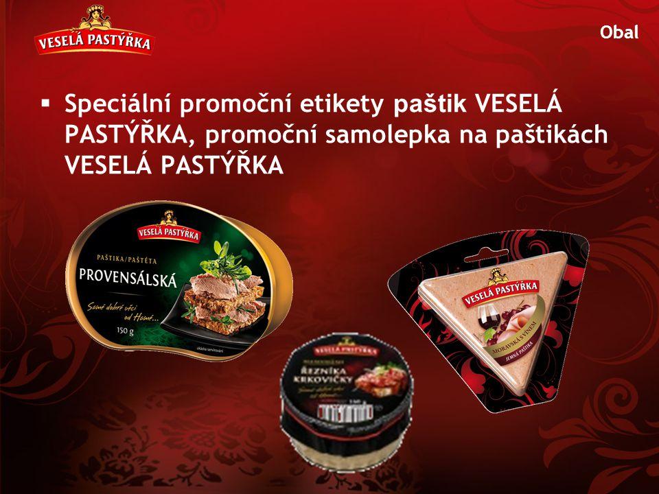 Obal Speciální promoční etikety paštik VESELÁ PASTÝŘKA, promoční samolepka na paštikách VESELÁ PASTÝŘKA.