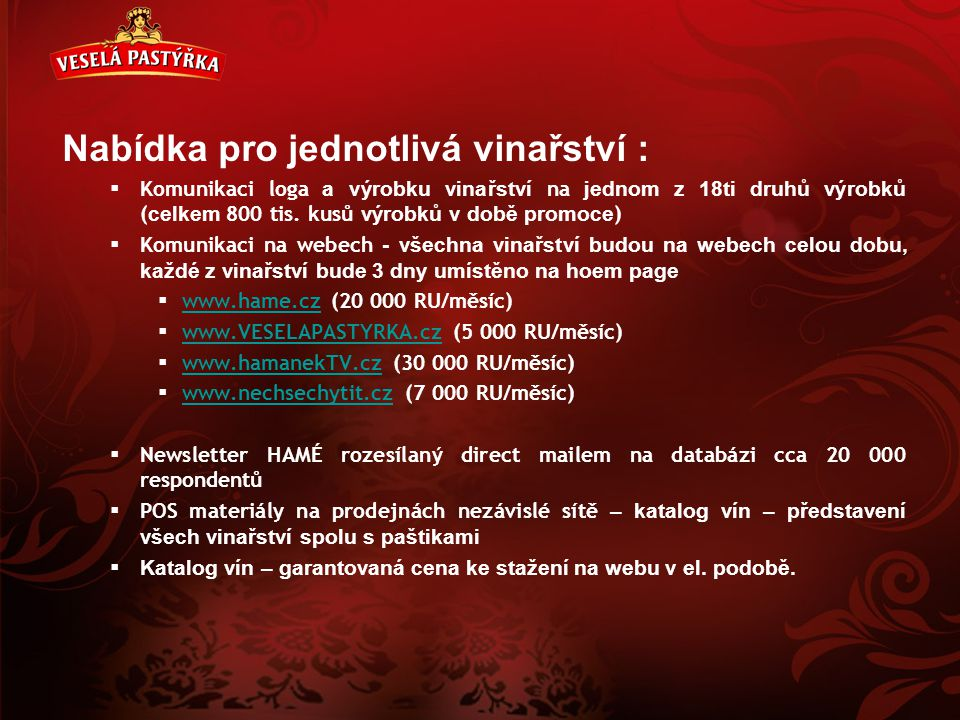 Nabídka pro jednotlivá vinařství :