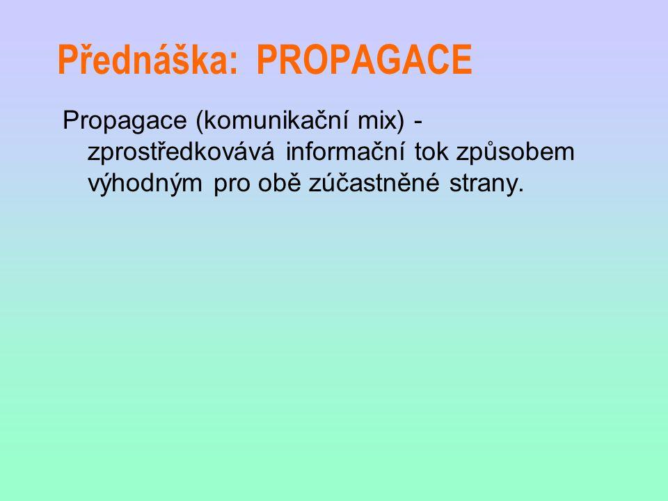 Přednáška: PROPAGACE Propagace (komunikační mix) - zprostředkovává informační tok způsobem výhodným pro obě zúčastněné strany.