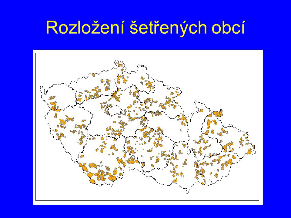 Rozložení šetřených obcí