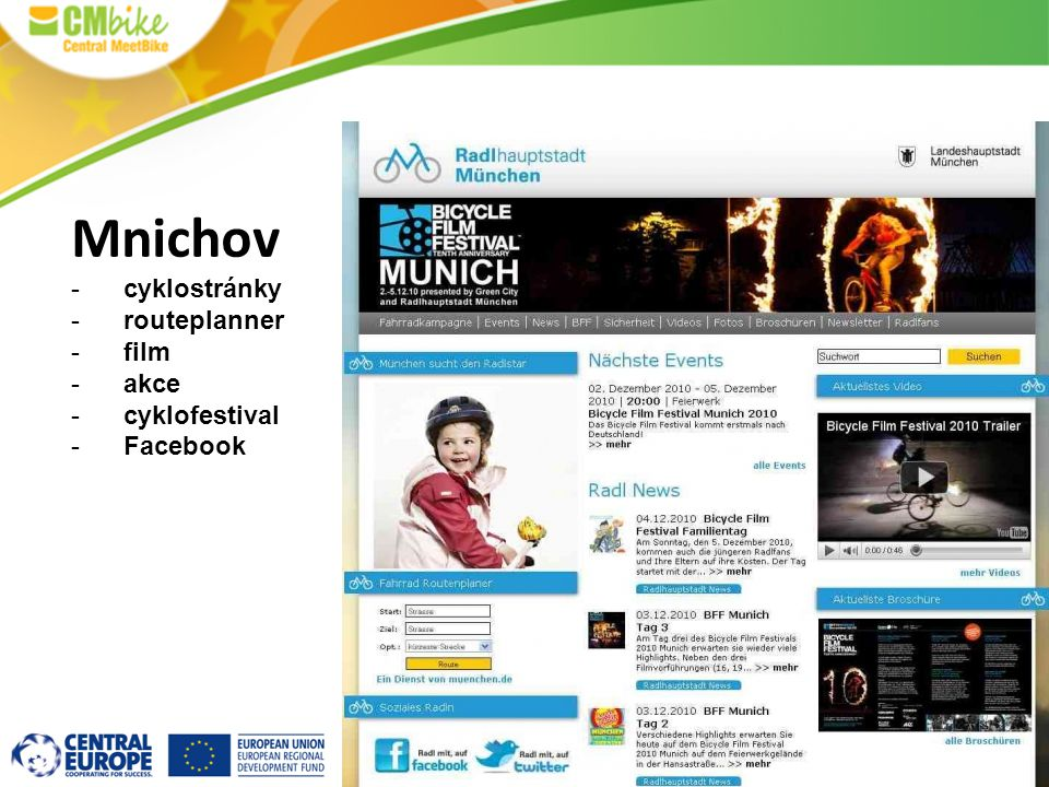 Mnichov cyklostránky routeplanner film akce cyklofestival Facebook