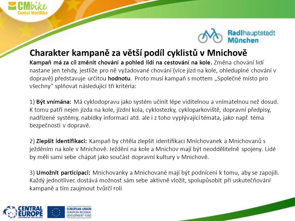 Charakter kampaně za větší podíl cyklistů v Mnichově
