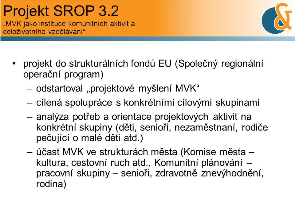 """Projekt SROP 3.2 """"MVK jako instituce komunitních aktivit a celoživotního vzdělávání"""