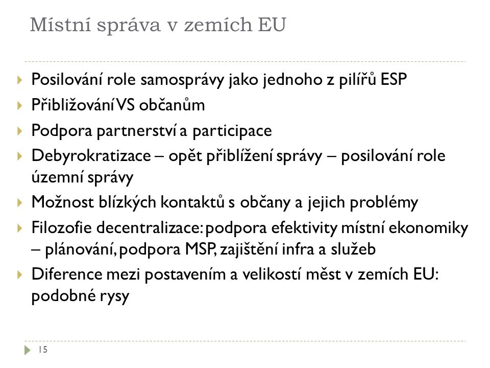 Místní správa v zemích EU