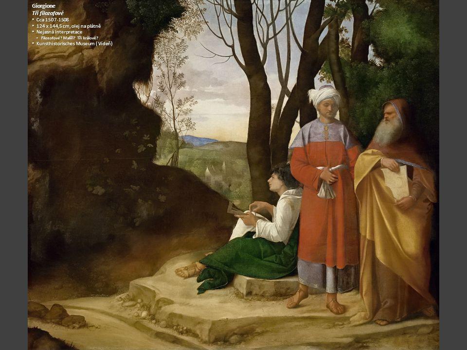 Giorgione Tři filozofové Cca 1507-1508 124 x 144,5 cm, olej na plátně