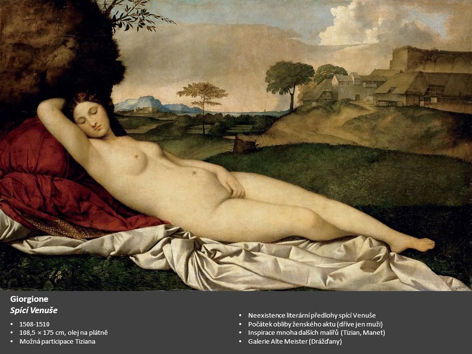 Giorgione Spící Venuše Neexistence literární předlohy spící Venuše