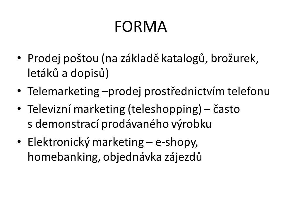 FORMA Prodej poštou (na základě katalogů, brožurek, letáků a dopisů)