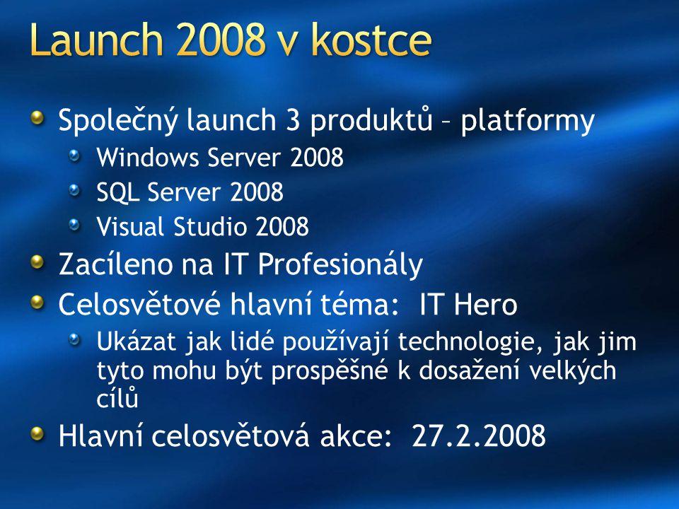 Launch 2008 v kostce Společný launch 3 produktů – platformy