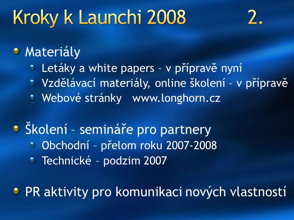 Kroky k Launchi 2008 2. Materiály Školení – semináře pro partnery