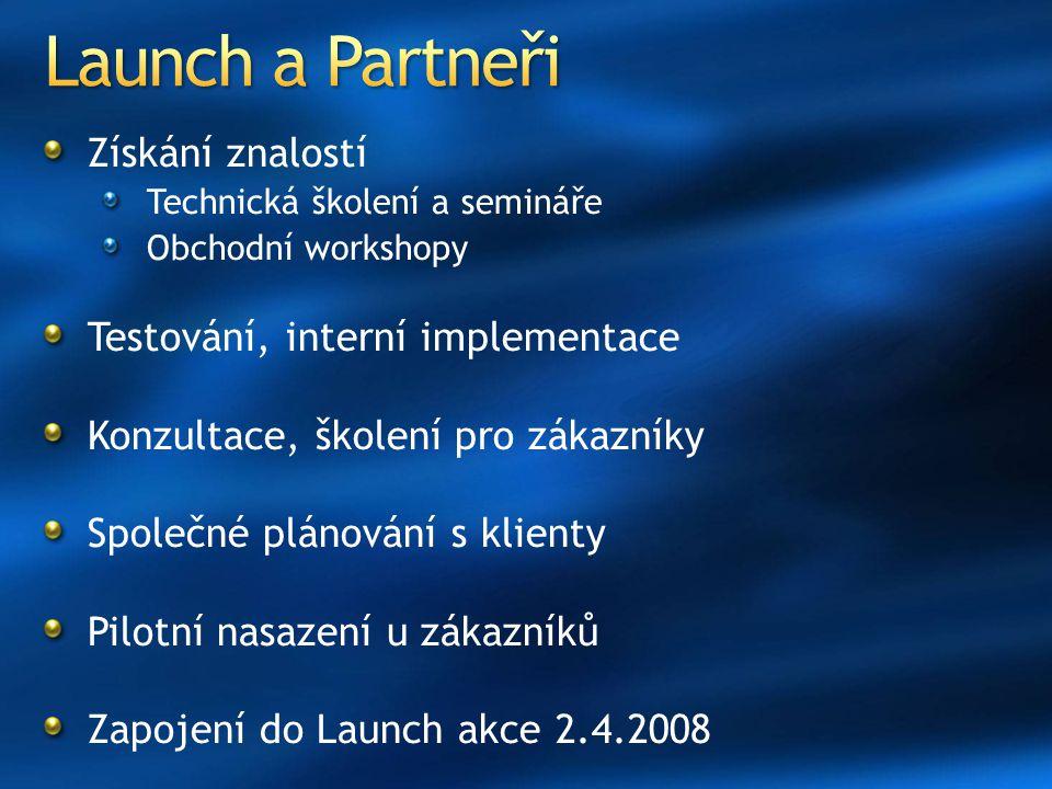 Launch a Partneři Získání znalostí Testování, interní implementace