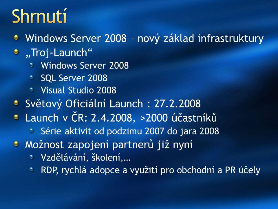 "Shrnutí Windows Server 2008 – nový základ infrastruktury ""Troj-Launch"