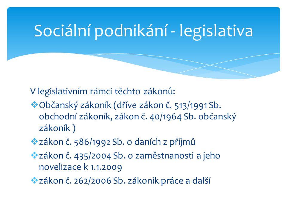 Sociální podnikání - legislativa