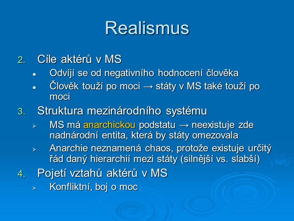Realismus Cíle aktérů v MS Struktura mezinárodního systému