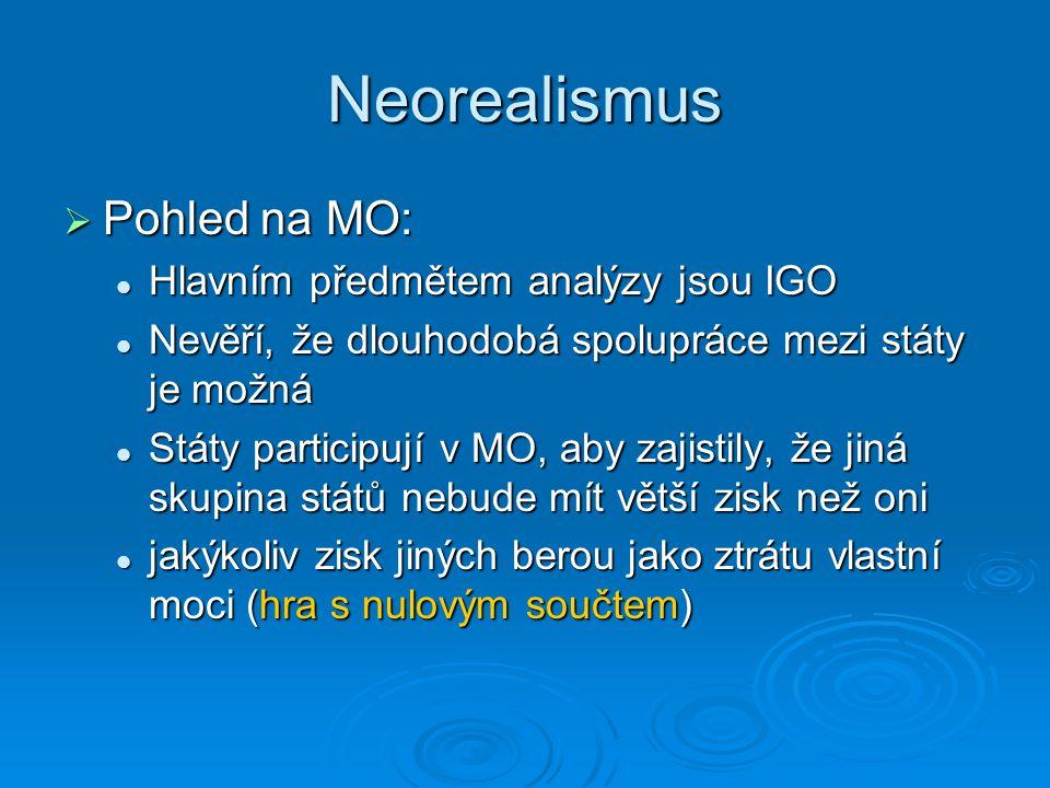 Neorealismus Pohled na MO: Hlavním předmětem analýzy jsou IGO