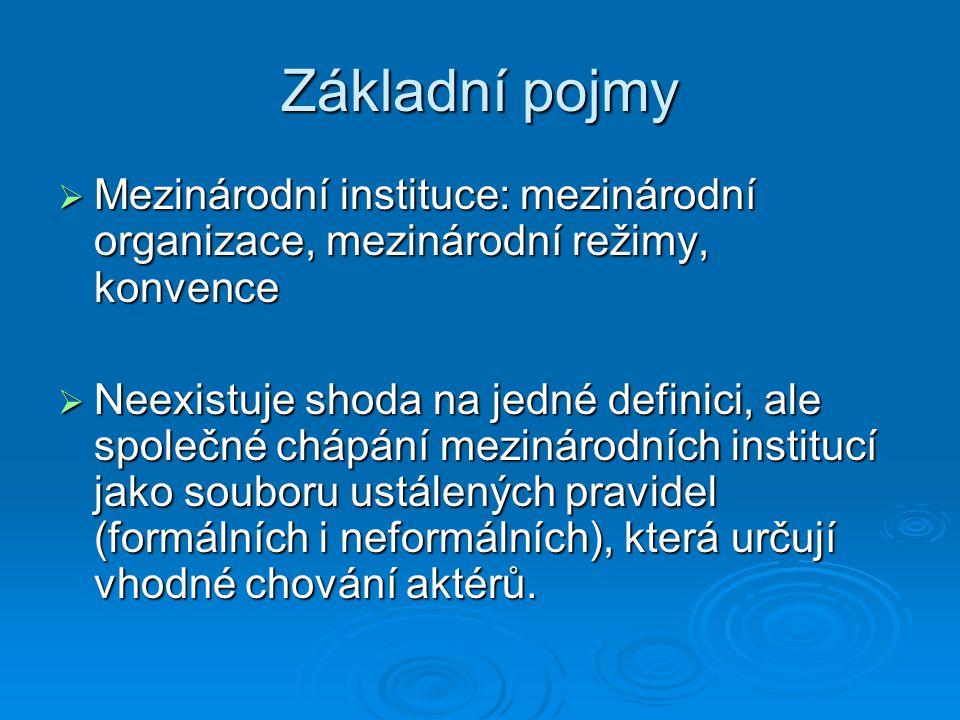 Základní pojmy Mezinárodní instituce: mezinárodní organizace, mezinárodní režimy, konvence.