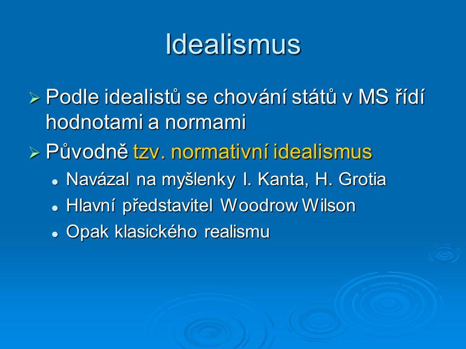 Idealismus Podle idealistů se chování států v MS řídí hodnotami a normami. Původně tzv. normativní idealismus.
