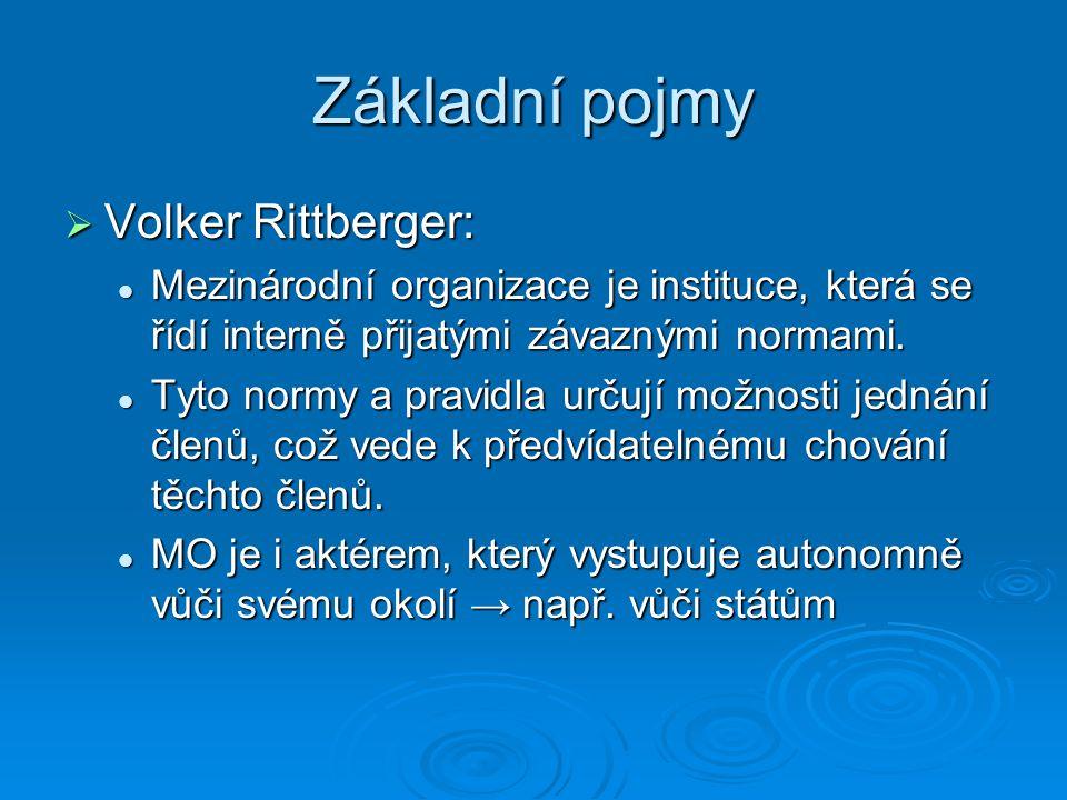 Základní pojmy Volker Rittberger: